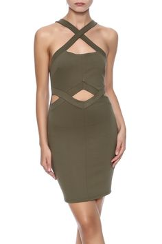 Olive bodycon dress with crisscrossing straps, midriff cut out, low back and a zipper closure.   Sexy Little Cutout Dress by Solemio. Clothing - Dresses Texas