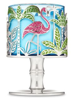 Tropical Flamingo Candle Holder - Bath And Body Works Flamingo Decor, Pink Flamingos, Flamingo Bathroom, Flamingo Gifts, Bath Candles, 3 Wick Candles, Tropical Candles, Bath Body Works, Large Candle Holders