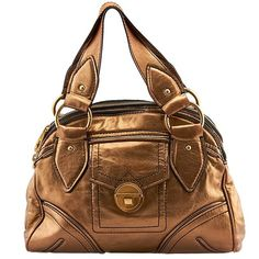 Pre-owned Marc Jacobs Bronze Leather & Metallic Satchel (1,510 MXN) ❤ liked on Polyvore featuring bags, handbags, bronze, satchel handbags, brown satchel handbag, genuine leather handbags, marc jacobs handbags and metallic leather handbags