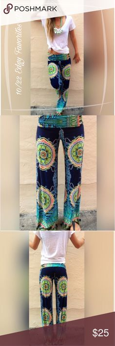 PALAZZO PANTS FLORAL TRIBAL PATTERN Super comfy, bohemian style palazzo pant with a slinky soft, nylon feel.  Polyester Blend  Please comment with any questions and feel free to make an offer with the blue button! ⭐️ Purchase by noon EST and item(s) ship the same day!  Bundle items and save, just click the three dots in right hand corner Ladies & Linen Pants Leggings