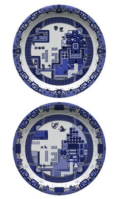 Geeky video game dinnerware based on the Blue Willow china pattern – by designer Olly Moss.
