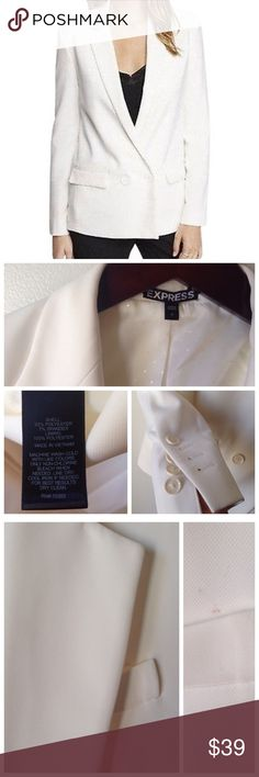 // EXPRESS White Women's Blazer // Express double breasted soft jacket / blazer. Long sleeve with four button cuff detail. Super cute when rolled up. Fully lined. Small mark on front pocket, but is covered by lapel. This has been used once and other than mark is in great condition.  Wear with leggings for a fun look or with stylish pants for work. This versatile piece is a must for your closet! Express Jackets & Coats Blazers
