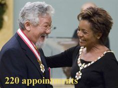 220: Maximum number of appointments per year that can be made to the Order of Canada, awarded for a lifetime of outstanding achievement, dedication to the community and service to the nation. In this image then Governor General Michaelle Jean invests environmentalist David Suzuki as a companion into the Order of Canada in 2006. (Fred Chartrand / Canadian Press)