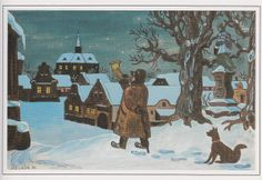Josef Lada Easy Landscape Paintings, Artist Names, Old Houses, Illustrators, Fairy Tales, Christmas Cards, In This Moment, Retro, Drawings