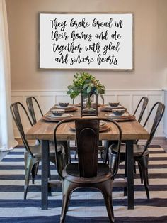 Home Remodel Modern Farmhouse dining room inspiration. Combining stripes with floral prints.Home Remodel Modern Farmhouse dining room inspiration. Combining stripes with floral prints. Farmhouse Dining Room Table, Dining Room Walls, Dining Room Lighting, Dining Room Design, Dining Area, Dining Tables, Metal Dining Room Chairs, Table Lighting, Dinning Room Light Fixture