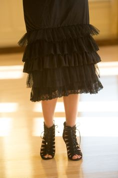 Extend skirts for extra modesty while adding a beautiful, finishing touch to your outfit: The Original Dainty Jewell's Layering Slip in black. Ruffles and lace at www.daintyjewells.com