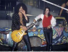 Slash and MJ chillin, MTV 10th Anniversary - November 15 & 16th 1991