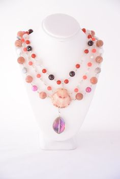 Mermaid's Gemstone Necklace. Coral. by FlashinFashinJewelry