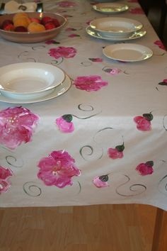 Own this beautiful hand painted tablecloth, Wipe clean or machine wash on a delicate cycle. Poppies on a silver background.  www.dmgdesigns.co.za