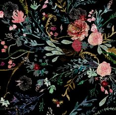 Dark Floral Fabric - Fable Floral (Black) Jumbo By Nouveau Bohemian - Dark Vintage Modern Floral Cotton Fabric By The Yard With Spoonflower lovely nails 40220 - Lovely Nails Black Background Painting, Flowers Black Background, Black Background Photography, Photography Flowers, Texture Photography, Background Vintage, Vintage Photography, Beauty Photography, White Photography