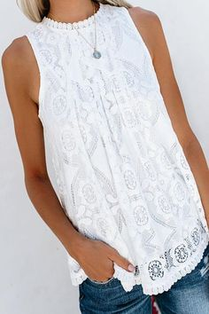 Round Neck Decorative Lace Lace Blouses – blouse designs latest,pretty blouses fashion,ladies blouse,solid colour blouse outfit,summer blouses for women Denham Jeans, Mode Country, Style Casual, My Style, Lace Vest, Cute Tops, Look Fashion, Luxury Fashion, Types Of Sleeves