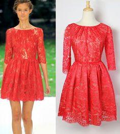 Morpheus Boutique  - Red 3/4 Sleeve Lace Celebrity Pleated Dress, $99.99 (http://morpheusboutique.com/products/red-3-4-sleeve-lace-celebrity-pleated-dress.html)