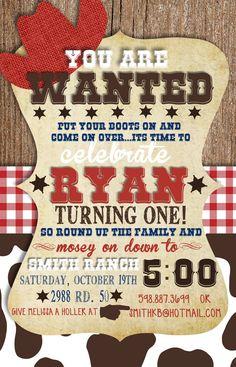 Custom Cowboy Birthday Invitation