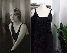 1920s Fashion Dresses, Vintage Dresses, Taffeta Dress, Silk Dress, Art Deco Dress, Bias Cut Dress, Column Dress, Black Velvet Dress, Vintage Velvet
