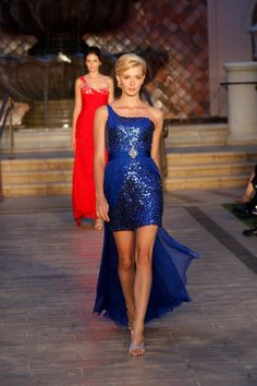 Shimmer and shine in this dazzling cocktail dress from Love 16 The asymmetrical bodice has a single shoulder strap and is covered and coated in decadent Maid Of Honour Dresses, Maid Of Honor, Royal Blue Dresses, Prom Dresses, Formal Dresses, Red Carpet Dresses, Sequin Dress, Bodice, Womens Fashion