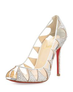 Christian Louboutin Indera Crystal Peep-Toe Red Sole Pump, Silver