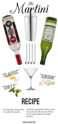 Classic Martini: Dorothy Parker Gin  |  Gatsby cocktail shaker  |  metal cocktail stirrers  |  Viv Martini glass