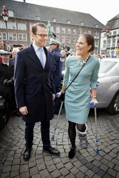 29 JANUARY 2014 - Crown Princess Victoria and Prince Daniel Visit Germany - Day 2 Crown Princess Victoria and Prince Daniel visited the Rathaus in Dusseldorf.
