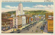 Penn Square, showing court house and Mt. Reading Pa, Boston Public Library, Big Ben, Paris Skyline, America, City, Travel, Pennsylvania, Tarot