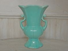 Vintage Large Aqua USA Pottery McCoy Vase by frenchtwine on Etsy, $80.00
