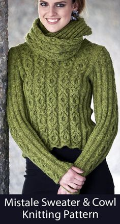 Sweater and Cowl Knitting Pattern Mistale Jumper - Matching cropped pullover and cowl with hugs and kisses XOXO cable pattern. Sizes XS (S, M, L, XL, 2XL). DK weight yarn. Designed by Linda Marveng.