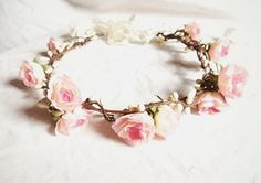 Woodland flower floral crown hair wreath (pink rose) - Wedding headpiece, headband, vintage inspired rose crown, french ribbon pip berries - maybe use white roses instead, or maybe red Rose Wedding, Wedding Flowers, Wedding Hair, Bridal Hair, Wedding Crowns, Wedding Headband, Wedding Bride, Wedding Colors, Wedding Ideas