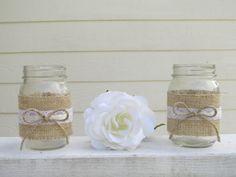 4 Burlap and Lace Mason Jar Wedding Centerpieces or door RusticBella