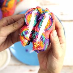 Spin some color into breakfast with these tie-dyed Rainbow Bagels!