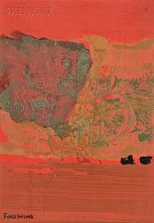 Tikashi Fukushima (Japanese, Untitled Abstract in Red, Green, and Black Fukushima, Red Green, Auction, Japanese, Sculpture, Abstract, Painting, Black, Art