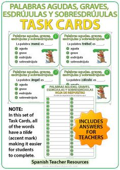 Spanish Task Cards - Las palabras agudas, graves, esdrújulas y sobresdrújulas