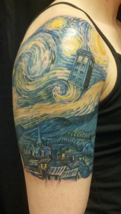 Doctor Who in Starry Night. This is like the best tattoo ever. I may have to add the tardis into my starry night I'm getting at a later date.