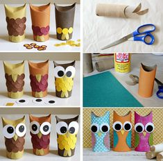 chouette c& un hibou - Owl Crafts, Diy And Crafts, Arts And Crafts, Toilet Paper Roll Crafts, Recycled Crafts, Crafts For Teens, Craft Videos, Art For Kids, Activities For Kids