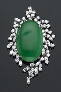 A jadeite jade, diamond and palladium brooch-pendant
