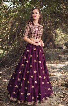 Purple Malai Satin Lehenga Choli is part of Lehenga gown - Shop Purple Malai Satin Lehenga Choli at Nihalfashions com Shop online from an premium collection of women's Lehenga Choli at best prices Buy now! Long Gown Dress, Lehnga Dress, Lehenga Gown, Party Wear Lehenga, Indian Lehenga, The Dress, Anarkali, Lehenga Choli Wedding, Lehenga Choli Online