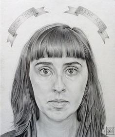 Title: Self Portrait with Banderole Medium: Oil on Board Portrait, Artist, Artwork, Oil, Medium, Board, Bunting Bag, Work Of Art, Headshot Photography