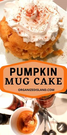 This easy Pumpkin Mug Cake is made in minutes in your microwave. A wonderful single portion fall dessert to make. #pumpkin #mugcake #dessert #fall Desserts To Make, Best Dessert Recipes, Fall Recipes, Delicious Desserts, Simple Recipes, Dessert Ideas, Dairy Free Chocolate Chips, Pumpkin Chocolate Chip Bread, Cheesecake Mousse Recipe