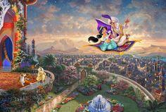 Thomas Kinkade Aladdin print for sale. Shop for Thomas Kinkade Aladdin painting and frame at discount price, ships in 24 hours. Disney Magic, Film Disney, Arte Disney, Disney Love, Disney Pixar, Cartoon Characters, Thomas Kinkade Disney, Thomas Kinkade Art, Disney Paintings