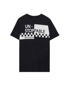 Pull&Bear - man - clothing - t-shirts - chequered flag 'un-stoppable' print t-shirt - black - 09236581-I2017