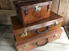 1 Leather Suitcase Made in England Brass Locks Chestnut