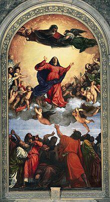 Tiziano  Le llevó a Tiziano dos años (1516-18) completar la Asunción de la Virgen de Santa María dei Frari, cuya dinámica composición triangular y viveza de colores lo convirtió en el más clásico de los pintores fuera de Roma.