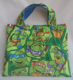 TMNT Tote Bag and Crayon Roll - Cotton bag - art bag - toddler - children - turtles - Leonardo - Donatello - Michelangelo - Raphael by Sewing4Babies on Etsy