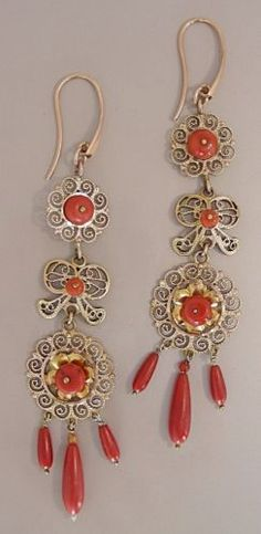 Antique Sardinian Gold Wire Filigree and Natural Mediterranean Coral Earrings | eBay