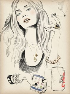 I love this illustration called 'party girl' by Sandra Suy. Art And Illustration, Picasso, Illustrations Techniques, Arte Sketchbook, Fashion Sketches, Fashion Illustrations, Illustration Fashion, Oeuvre D'art, Gouache