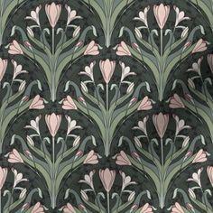 Colorful fabrics digitally printed by Spoonflower - Art Nouveau Crocuses