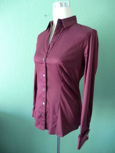 NWT BANANA REPUBLIC BURGUNDY WINE STRETCH COTTON FITTED BLOUSE S #BananaRepublic #Blouse #Casual