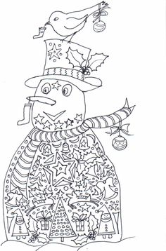 Detailed Christmas Coloring Pages | Snowman Coloring Pages - Christmas