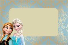 convite Molde Frozen Fundo Azul e Nude