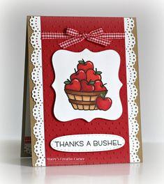card apple apples bushel Lawn Fawn thanks a bushel stamp set Stacey's Creative Corner: Shopping Our Stash #271