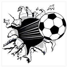 Bursting Soccer Ball Poster