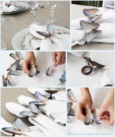 DIY Mussels and Shells Butterfly Napkin Rings
